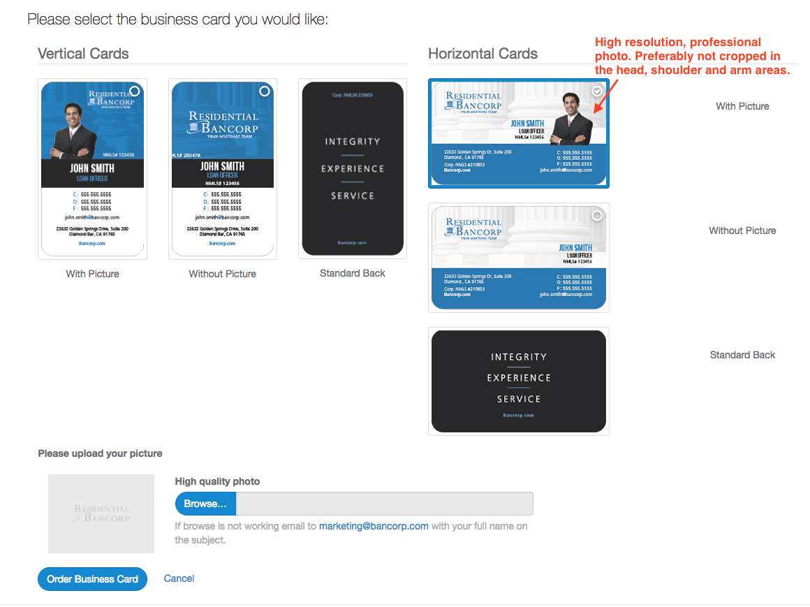 Business Cards – Welcome to Residential Bancorp